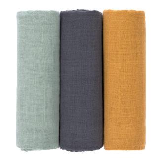 LÄSSIG Mulltücher (3 Stück) blau, gelb, grün